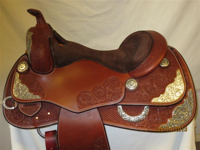 Used Saddle:GORGEOUS ANTIQUED SCROLL SILVER Dark OIl Reiner- Image Number:0
