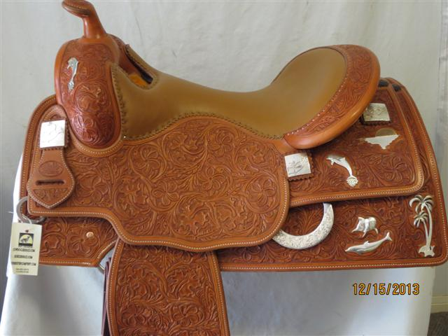 Used Saddle:Bob's Custom Silver Dolphin Saddle- UNIQUE- Image Number:0