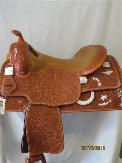 Used Saddle:Bob's Custom Silver Dolphin Saddle- UNIQUE- Image Number:1