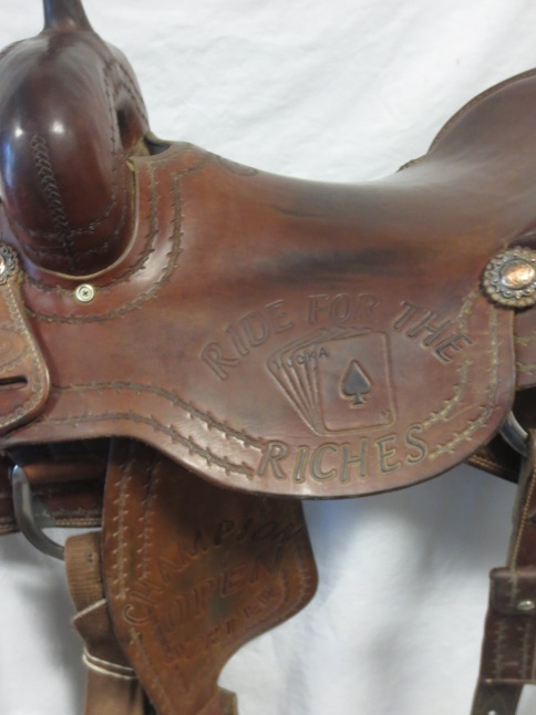 Used Saddle:Todd Jey's Cutter Trophy Saddle Hardseat 17inch- Image Number:1