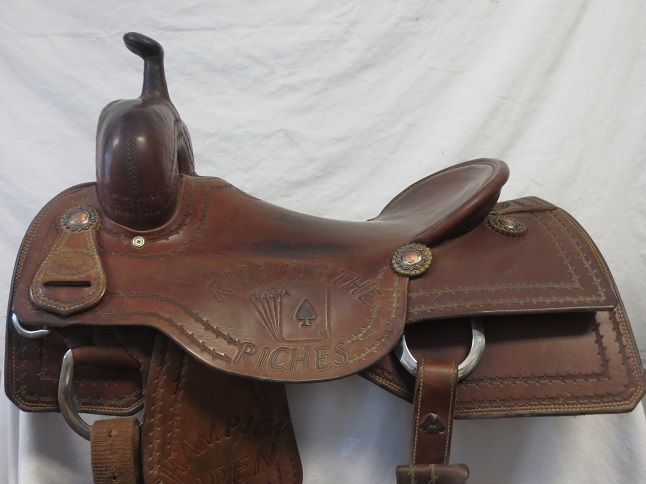 Used Saddle:Todd Jey's Cutter Trophy Saddle Hardseat 17inch- Image Number:0
