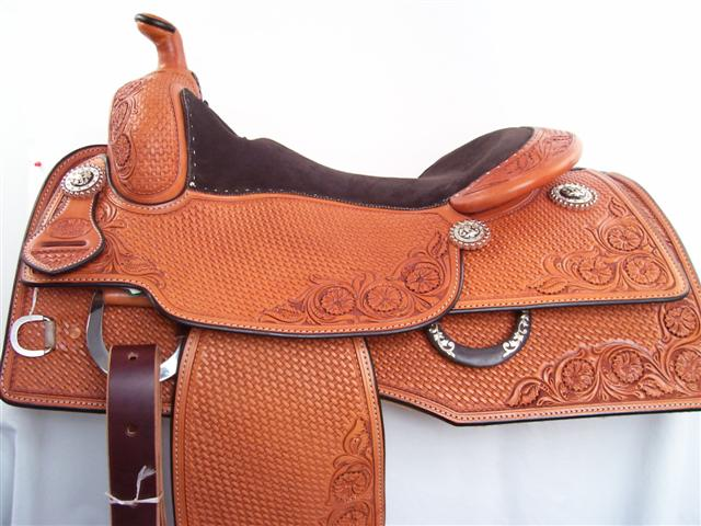 Used Saddle:16inch Bob's Square Skirt Reiner- Silver /Iron Trim-Back in stock!- Image Number:2