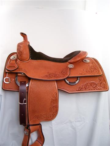 Used Saddle:16inch Bob's Square Skirt Reiner- Silver /Iron Trim-Back in stock!- Image Number:1