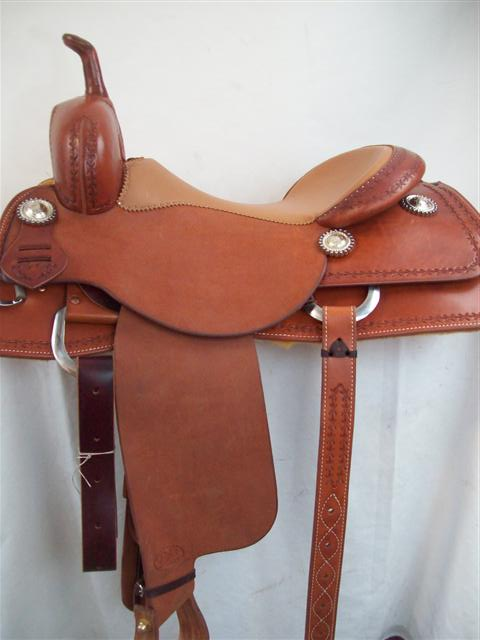 Used Saddle:New Bob's 16inch  Oxbow Cutter- Image Number:1
