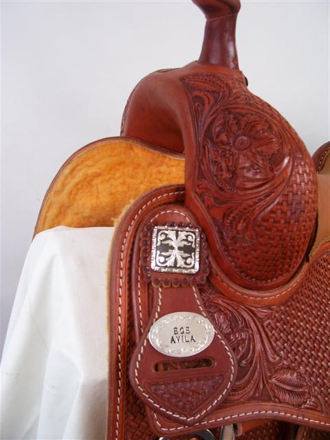 Used Saddle:16inch Bob Avila Square Skirt Cowhorse by Bob's Custom Saddles- Image Number:1