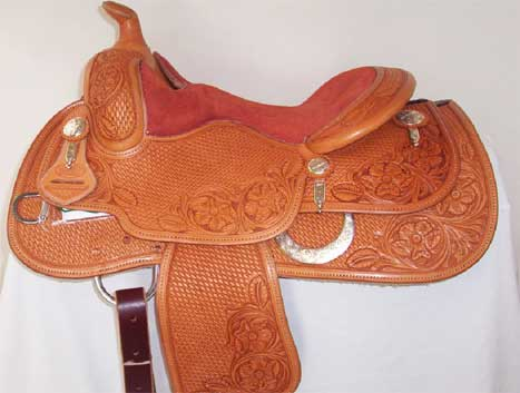 "Used Saddle: Bob's Custom Saddles 14"" Youth Reiner/all around- Image Number:0"