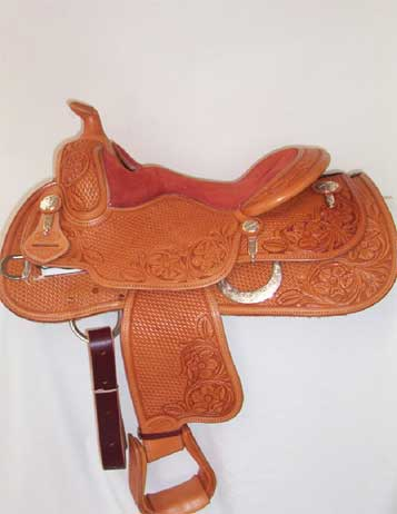 "Used Saddle: Bob's Custom Saddles 14"" Youth Reiner/all around- Image Number:1"