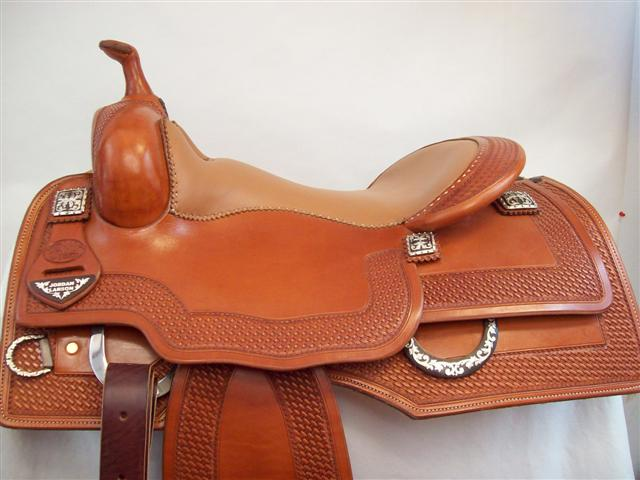 Used Saddle:Bob's Custom Saddle Jordan Larson Square Skrit Reiner- Image Number:0