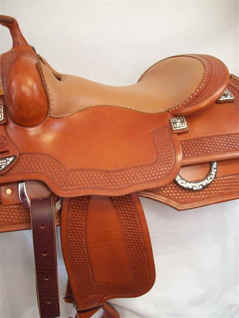 Used Saddle:Bob's Custom Saddle Jordan Larson Square Skrit Reiner- Image Number:1